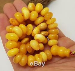 Islamic Prayer Tasbih Stone Amber Natural Baltic White 45 Bead 55,3g Rare F-578