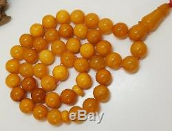 Islamic Prayer Tasbih Stone Amber Natural Baltic White Bead 58, g Vintage F-727