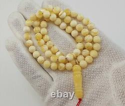Islamic Prayer Tasbih Stone Amber Natural Baltic White Old Bead 14,1g Rare R-218