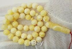 Islamic Prayer Tasbih Stone Amber Natural Baltic White Vintage Bead 37,1g E-242