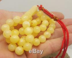 Islamic Prayer Tasbih Stone Natural Amber Baltic KEHRIBAR 30g White 45Bead K-303