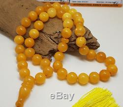 Islamic Prayer Tasbih Stone Natural Amber Baltic KEHRIBAR 48,1g White Bead K-039