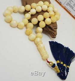 Islamic Prayer Tasbih Stone PRESSED Amber Natural Baltic 49,9g White Bead F-815