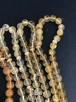 LOT Of 5 Baltic amber rosary 42gram 7mm 33 prayer beads misbah Tesbih NATURAL