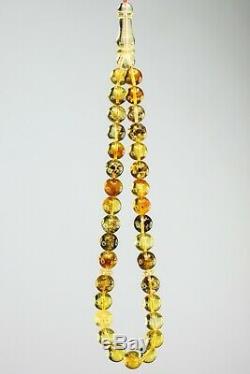 LOT Of 6 Baltic amber rosary 58gram 8mm 33 prayer beads misbah Tesbih NATURAL