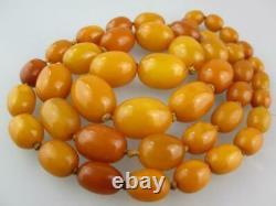 Large Antique Natural Butterscotch Egg Yolk Baltic Amber Necklace 63 grams