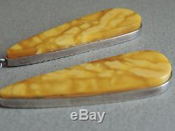 Large Natural Butterscotch Egg Yolk Baltic Amber Earrings 28 grams