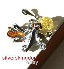 Lemon and Cognac Baltic Amber Octopus Pendant with Silver 925