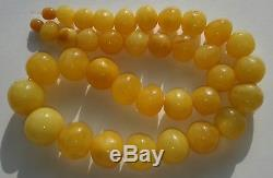 Lovely Baltic Natural 66,7gr Amber Egg Yolk Butterscotch Beads Necklace