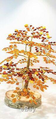 Luxury Amber Tree of Happiness Oak 9.5 (25cm) 630 Baltic Amber Stones