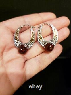 MICHAEL VALITUTTI 2-Tone Sterling Silver BALTIC AMBER FILIGREE HOOP Earrings