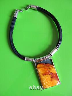 Mariusz Gliwinski Natural Genuine Baltic Amber Sterling Silver Pendant Necklace