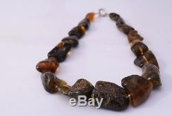 Massive Baltic Amber Necklace Unique Natural Beads Multicolored with Clasp