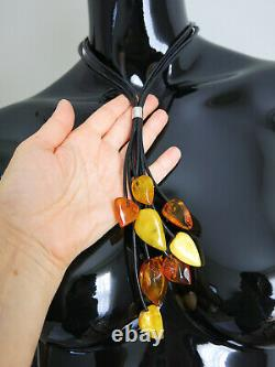 Medern Genuine Baltic Amber & Leather Cord Sterling Silver 925 Polish Necklace