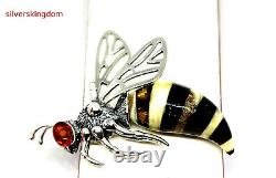 Middle Size Baltic Amber Wasp Pendant with Silver 925
