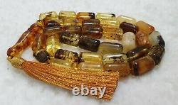 Muddy Baltic Amber with inclusions Islamic Prayer Rosary 33 Beads Tasbih 70 Gr