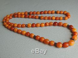 Natural Baltic Butterscotch Amber Beaded Necklace 46 Grams
