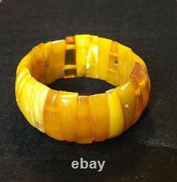 NATURAL OLD ANTIQUE BUTTERSCOTCH EGG YOLK BALTIC AMBER BRACELET 30,25 grams