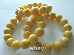 Natural 12.5 mm. Baltic White/ Butter Amber Round Beads Bracelet