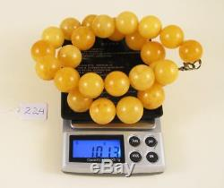 Natural 18mm Old Baltic Vintage Antique Amber round Beads Necklace 96g 241