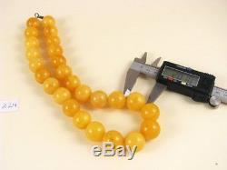 Natural 19mm Old Baltic Vintage Antique Amber round Beads Necklace