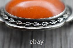Natural Amber Antique Brooch Silver From 1920s Baltic Amber Art Nouveau 9g