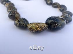 Natural Amber Necklace Green Color Adult Genuine Baltic Big beads 22 inches Pure