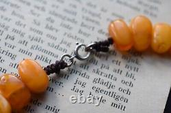 Natural Amber necklace from Sweden baltic amber egg yolk butterscotch 70's 30G