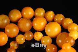 Natural Antique 106gr. Butterscotch Egg Yolk Baltic Amber Beads Necklace A815
