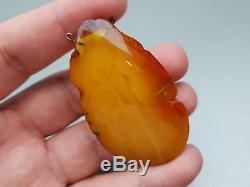 Natural Antique 16.87 gr. Butterscotch Egg Yolk Baltic Amber Pendant