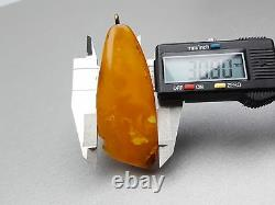 Natural Antique 17.80 gr. Butterscotch Egg Yolk Baltic Amber Pendant