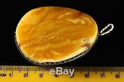 Natural Antique 28.52gr Butterscotch Egg Yolk Baltic Amber Pendant Necklace A674
