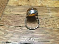 Natural Antique Applejuice Baltic Amber Silver Ring Sz 8 3/4 Huge