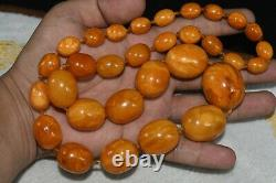 Natural Antique Baltic Amber Butterscotch Egg Yolk Large Beads Necklace 96 Grams