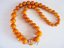 Natural Antique Baltic Egg Yolk Butterscotch Amber Round Bead Beeswax Necklace