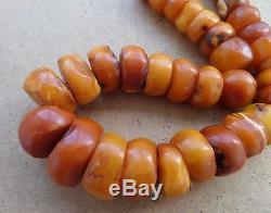 Natural Antique Baltic Vintage Amber OLD Beads EGG YOLK Necklace 89 g