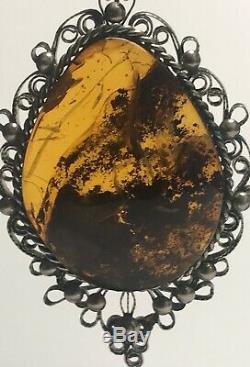 Natural Antique Beautiful Baltic Vintage Genuine Cognac Amber Pendant Necklace
