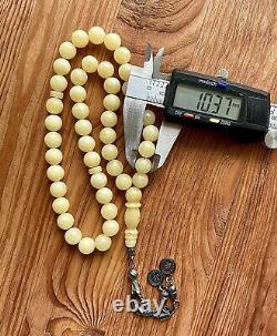Natural Baltic Amber 33g. Islamic Prayer Rosary 10 mm. 45 Beads Tesbih Misbaha
