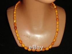 Natural Baltic Amber Antique Butterscotch Egg Yolk Beads Necklace 20 gram
