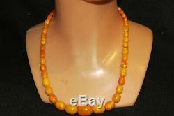Natural Baltic Amber Antique Butterscotch Egg Yolk Beads Necklace 30 gram