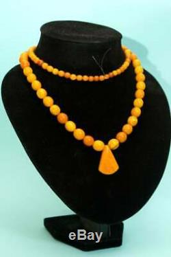 Natural Baltic Amber Antique Butterscotch Egg Yolk Rosary Beads Necklace 43gr