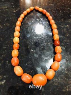 Natural Baltic Amber Antique Egg Yolk Rare Beads Necklace Butterscotch Mala 18