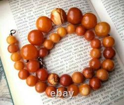 Natural Baltic Amber Antique Genuine Butterscotch Egg Yolk Beads Necklace 56gram