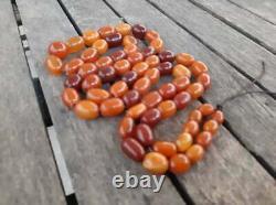 Natural Baltic Amber Butterscotch Egg Yolk Antique Kahraman Beads Necklace 68gr