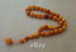 Natural Baltic Amber Islamic 33 Beads Rosary Prayer Honey Tasbih Misbaha 30 g