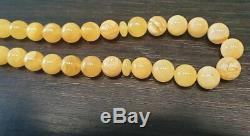 Natural Baltic Amber Islamic Muslim Rosary Prayer Misbaha Butterscotch Beads 78g