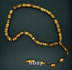 Natural Baltic Amber Islamic Prayer 33 beads Tasbih Misbaha Muslim Rosary