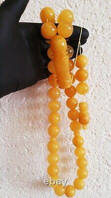 Natural Baltic Amber Islamic Prayer Beads Misbaha Tasbih Rosary 130g 33 Beads