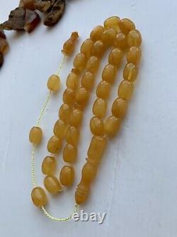 Natural Baltic Amber Islamic Prayer Rosary 24g. Egg Yolk 33 Beads Misbaha