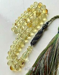 Natural Baltic Amber Islamic Prayer Rosary 39g. Beads Tesbih Misbah Kehribar